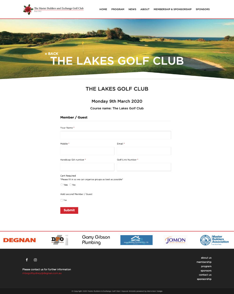 MBE Golf Club by Kapsule Websites