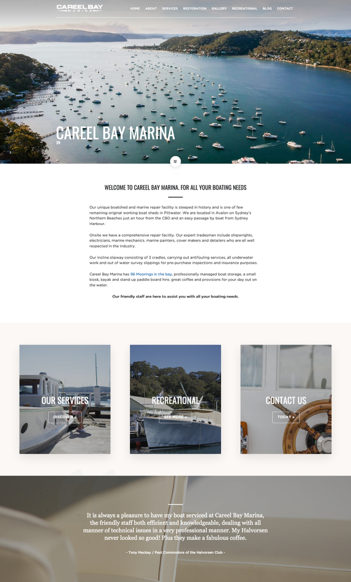 Careel Bay Marina pages by Kapsule Websites