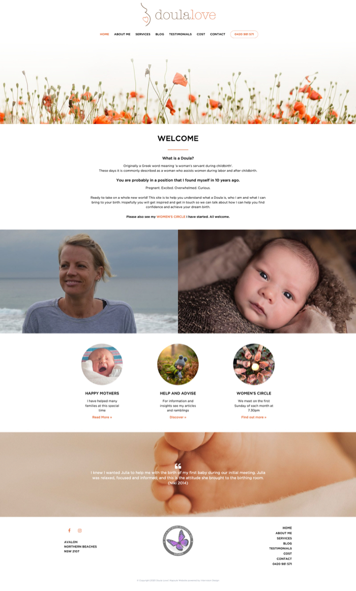 Doula Love home page by Kapsule Websites